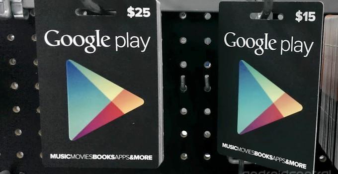 cartão presente Play Store